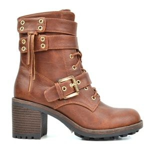 NEW Women's Lace Up Combat Boots Cognac